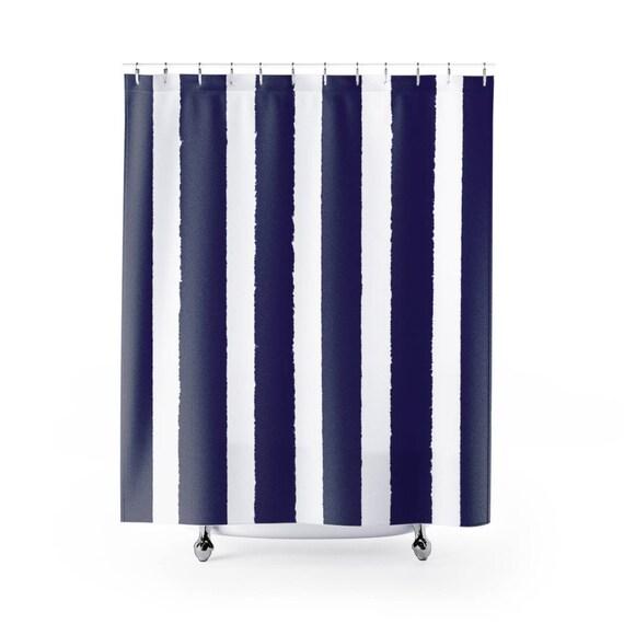Indigo Shower Curtain . Indigo Striped Shower Curtain . Modern Indigo Shower Curtain . Shower Curtain . Indigo Striped Shower Curtain