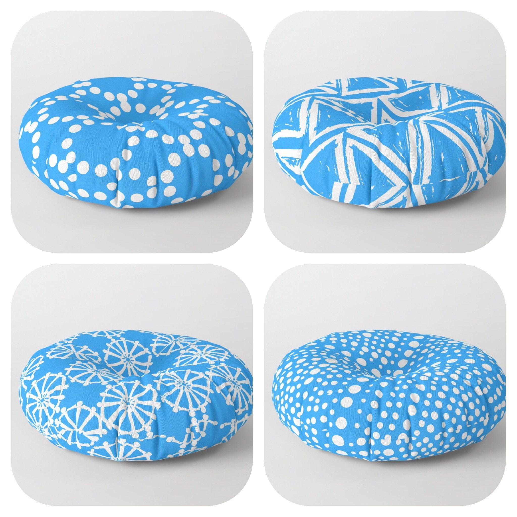 Round Floor Pillow Blue : Blue floor cushion . Round cushion . Blue Pillow . Round pillow . Floor pillow . Geometric ...