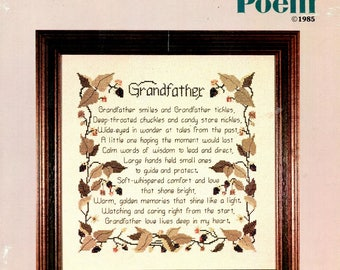 Grandfathers Poem Smiles Tickles Tales from the Past Large Hands Twined Leaves Counted Cross Stitch Embroidery Craft Pattern Leaflet CSL-19