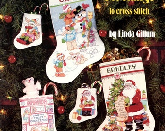Christmas Stockings Snowman Santa Claus Teddy Bear Sledding Wreath Counted Cross Stitch Embroidery Craft Pattern Leaflet 3547