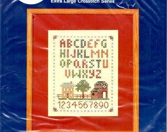 """ABC Sampler Kit 8"""" x 10"""" Old Fashioned House Barn Tree Picket Fence Numbers Simple Border Counted Cross Stitch Craft Pattern 465"""