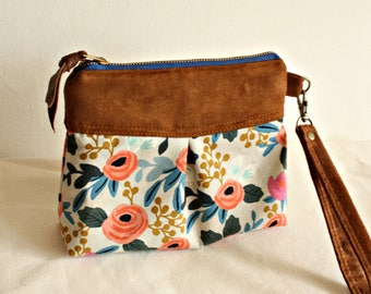 Chevron pleated wristlet, pouch, clutch, wallet, canvas and faux suede floral- READY-