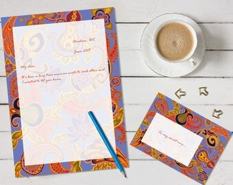 Paisley of '71 'print your own' letter writing paper set - blue and orange