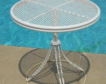 """Mid Century Homecrest Salterini Wire Metal Adjustable Height 21"""" Diameter Table"""
