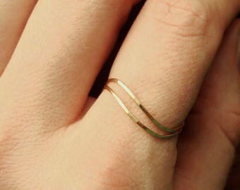 Two Solid 14k Gold Wave Thread Rings - Rose Gold - White Gold - Yellow Gold - Hammered Stack Rings -  Mixed Metals - Delicate