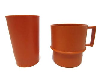 Orange Cups - Tupperware Cups - Vintage Cups - Retro Cups - Vintage Tumblers - Plastic Cups - Orange Tumblers - Orange Tupperware - Kitsch