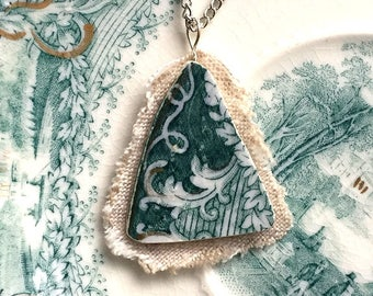 Broken china jewelry - china pendant necklace with chain - antique china shard on linen pendant - teal green English transferware
