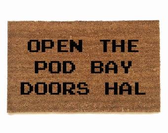 Open the pod bay doors Hal 2001 funny scary robot future scifi doormat geek meme doormat