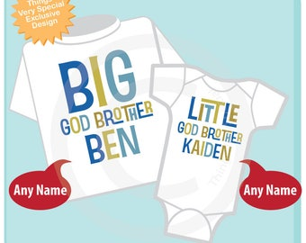 Big God Brother Little God Brother Shirt set of 2, Sibling Shirt, Personalized Tshirt with Blue and Green Gold Letters 11202017h