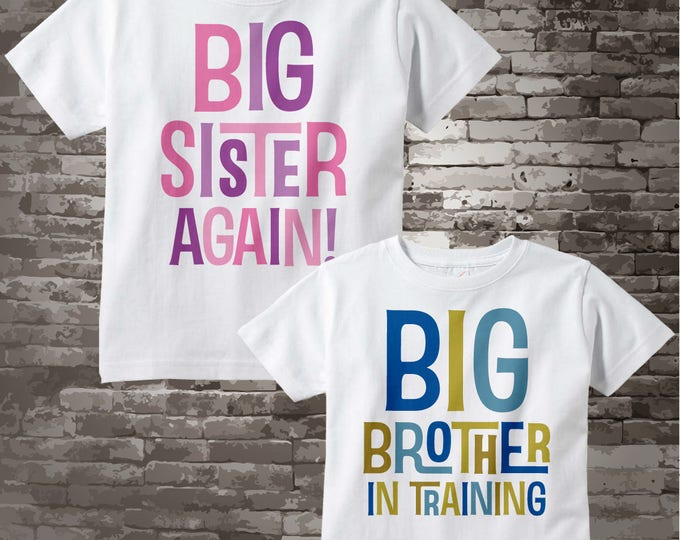 Big Sister Big Brother Shirts, Set of 2 Sibling Big Sister Again and Big Brother In Training Tee Shirts or Onesies, Announcement 07142017d
