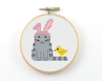 Easter cat cross stitch pattern, cat cross stitch, cat pfd pattern, Easter cross stitch , small cross stitch, spring cross stitch, funny cat