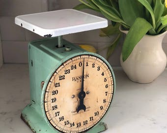 Kitchen Scale Green White 1920s Hanson Farmhouse Primitive Patina