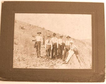 Cabinet Card Photo - Young Texas Gentlemen - 1890s - Hats Suits Ties - Men's Fashion - Vintage Antique - Sepia