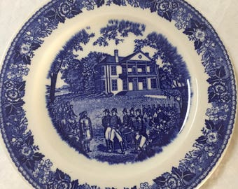 Historical Jonroth Olde English Staffordshire Ware Transferware Plate Grouseland Vincennes Indiana