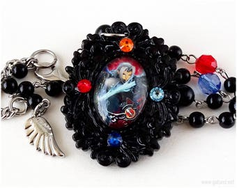 Sephiroth Cameo Necklace, Domed Glass Pendant, Gothic Jewelry, Fantasy Jewelry