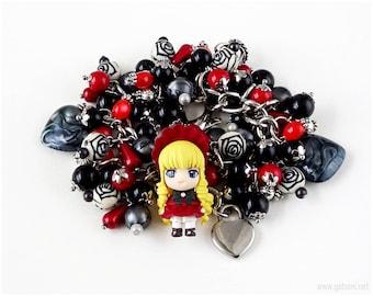 Rozen Maiden Shinku Gothic Lolita Charm Bracelet, Gothic Jewelry, EGL