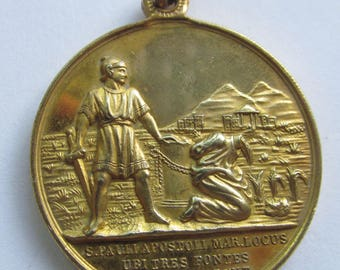 Martyrdom Of Saint Paul Antique Religious Medal Church Of The Three Fountains Pendant  SS06