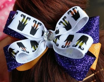 Hair Bow - Halloween Witch Feet Layered Bow