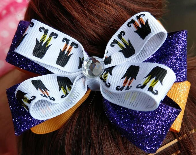 Featured listing image: Hair Bow - Halloween Witch Feet Layered Bow