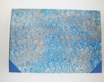 Marbled paper handy desk pad. Hand bounded cm 35 x cm 50  1012