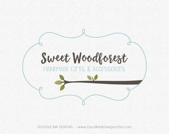 Logo Design, Premade Logo, Logos Watermark, Photography Logo, Forest Logo Tree Branch, Cursive Curly Frame, Logo Business