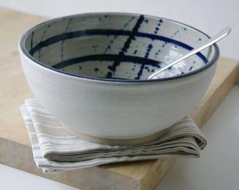 Splatter pattern large fruit bowl - hand thrown stoneware pottery