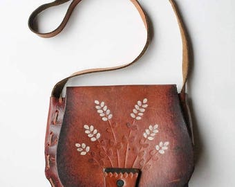 SPRING SALE 70s BOHO Leather Purse, Tooled Leather Purse, Hippie Bag, Flower Pot, Boho Purse Painted Floral, Leatherwork Handcrafted Hand To