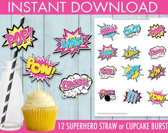 Supergirl / Superhero Straw Flag/Cutout Bursts, Supergirl Party, Supergirl Birthday, Straw Tags | DIY Instant Download PDF Printable