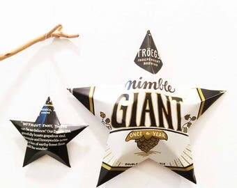 Nimble Giant | Tröegs Brewing Company Beer Can Stars, Recycled Ornamental Stars - Set of 2. Gift for Dad, Man Cave, barware, Gift Toppers