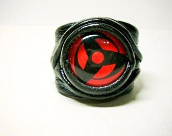 Anime adjustable leather ring. Gamer ring. Statement ring. Leather jewelry