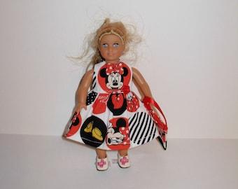 Handmade clothes. Cute Minnie print dress for Mini American girl doll 6 1/2 inch