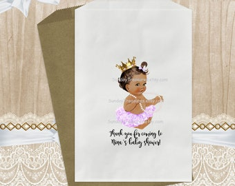 12 Pak Medium Skin Baby / Lavender Ruffle Tutu / Gold Crown / Pearl Necklace Party Favor Gift Bags  / 5x7 Candy Cookie Bags / 3 Day Ship