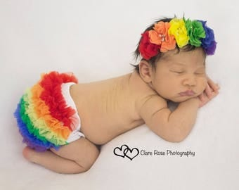 Rainbow Baby, BLOOMERS and HEADBAND, Rainbow Bloomers, Headband, Ruffle Bum Bloomers. Baby set- Newborn Bloomer,Ruffle diaper cover