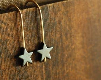 Gemstone Star Earrings, Hematite Star Earrings in 14k Gold Fill, Simple Star Drop Earrings