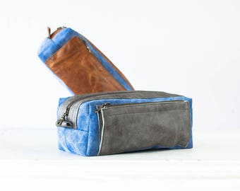Travel case in blue waxed canvas and leather, accessory case toiletry storage organizer groomsman gift case - Skiron travel case
