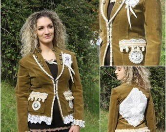 Bohemian jacket  , reworked, refashioned  by Cláudia Candeias, large size