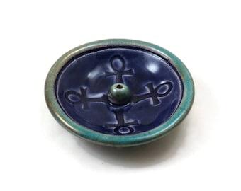 Egyptian Ankh Incense Burner Handmade Raku Pottery