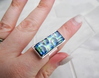 costume jewelry, avant garde, gift for her, rectangle glass cocktail ring, large dichroic glass ring, multicoloured glass, statement ring