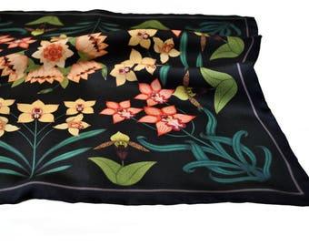 Orchid Silk Pocket Square / Floral Silk Pocket Square / Small Floral Silk Square / Silk Pocket Square / Silk Neckerchief / Wedding Accessory
