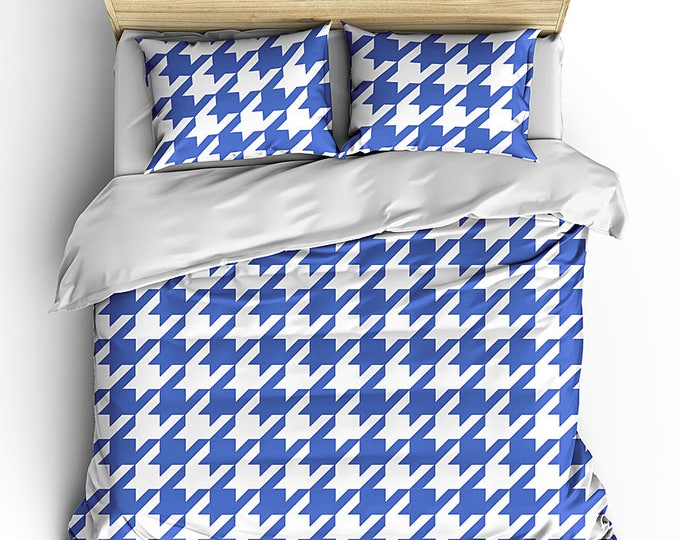 Men's Bedding Set, Masculine Bed Set, Houndtooth Check Duvet, Bedroom Decor, Grad Gift, Graduation Gifts, Dorm Decor, Boy's Room Decor, Teen
