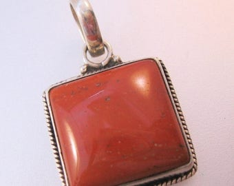 SALE & FREE SHIPPING Vintage Jasper Sterling Silver Pendant Square Jewelry Jewellery
