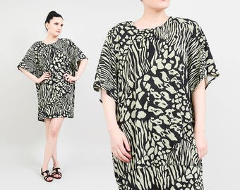 80s Animal Print Mini Dress | Oversize T-shirt Dress Cheetah Leopard Mini Dress | 1980s Long Tee Top | Green Black | One Size S M L