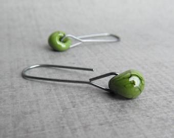 Army Green Dangle Earrings, Minimalist Earrings Green, Oxidized Earrings Sterling Silver, Wire Dangles, Green Earrings, Glass Drop Earrings
