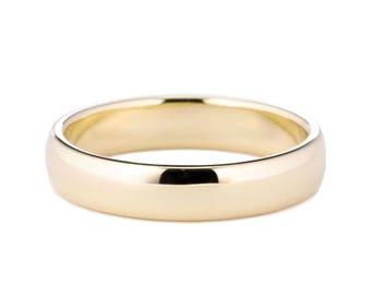4mm Half Round Wedding Ring, 4mm 14K Gold Band, 4mm Men's Gold Wedding Ring, Classic Style Wedding Band, Mens or Womens Wedding Band