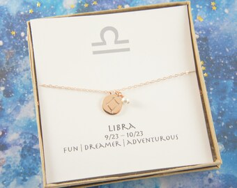 rose gold zodiac LIBRA necklace, birthday gift, custom personalized, gift for women girl, minimalist, simple necklace, layered