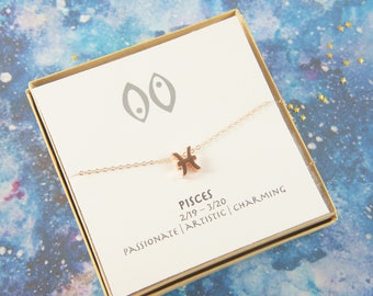 rose gold zodiac Pisces necklace, birthday gift, custom personalized, gift for women girl, minimalist, simple necklace, layered
