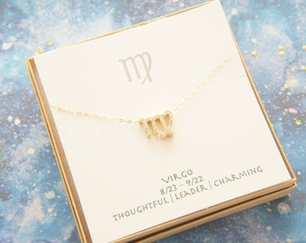 gold zodiac cubic zirconia Virgo necklace, birthday gift, custom personalized, gift for women girl, minimalist, simple necklace, layered