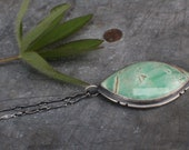 "Utah Variscite Marquis Sprout Pendant on 18"" double rope chain"