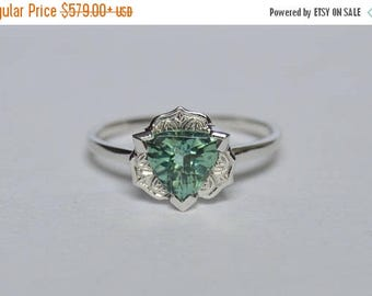 SALE White Gold Trillion Ring, White Gold Engraved Ring, Tourmaline Ring, Gatsby Ring, Green Gemstone Ring, 14 K Gold Ring