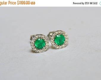 SALE White Gold Emerald Studs, Emerald Earrings, Halo Studs, Colombian Emerald Studs, Diamond Halo Studs, Diamond Emerald Earrings